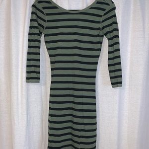 Express quarter length sleeved bodycon dress